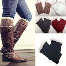 New Women Girl`s Crochet Knit With Button Leg Warmers Lace Trim Cuffs Boot Socks
