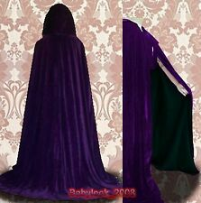 New Medieval Halloween Cape Purple Velvet Hooded Cloak Wicca SCA S M L XL XXL