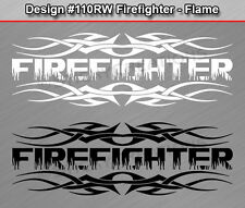 #110 FIREFIGHTER Flame Font Tribal Fire Rear Window Decal Sticker Vinyl Graphic