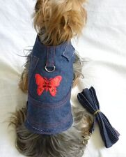 New Dog Cat Apparel Harness Vest Leash Denim Red Butterfly Velcro XS S M