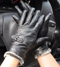 Sexual Black Genuine Sheep Leather Warm Winter Wrist Driving Gloves M008