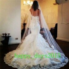 New Luxury 1T White Ivory Lace Edge Cathedral Length Wedding Bridal Veil Comb