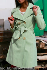 PILOT Womens Ladies Green Belted Smart Mac Trench Coat Work Casual Size 8 - 14