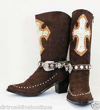 Genuine Hair on Hide Cross Cowboy Boots w/ Brown Straps Cowgirl Boots Brown