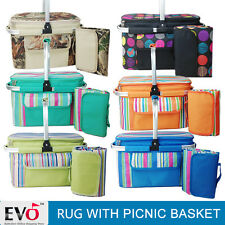 Collapsible Folding Waterproof Beach Picnic Blanket Rug Mat Basket Insulated Bag