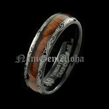 Koa Wood Hawaiian Wedding Band Ring Black Tungsten Scroll Design Comfort Fit 6mm