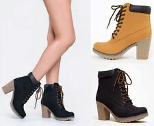 NEW Women Classic Military Combat Lace Up Chunky Stacked Mid Heel Ankle boots
