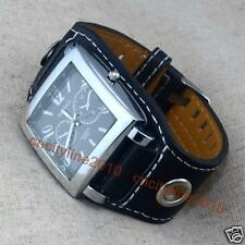 New Fashion Square Dial Numerals Big Leather Band Men Analog Quartz Wrist Watch