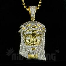 18k Gold MINI JESUS PIECE Iced Out AAA Lab Diamond Pendant Chain HipHop Necklace
