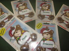Personalized Christmas Ornament Teddy Bear w/ Red Many Names ( Girl ) FREE S&H!