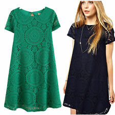 Women's Sexy Lace Floral Casual Short Party Evening Cocktail Mini Casual Dress