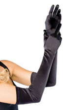 Opera length satin gloves over elbow gloves