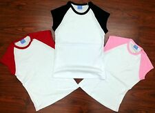 Junior's BABY RIB CAP SLEEVE CONTRAST RAGLAN Baseball Tee NEW