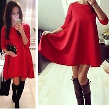 Womens Casual Fashion O-Neck Long Sleeve Chiffon Red Loose Party Evening Dresses