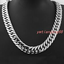 "8-36""18mm Heavy Huge Mens Curb Cuban Necklace Stainless Steel Fashion Jewelry"