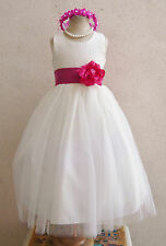 Ivory fuchsia pink coral mauve orange baby  toddler teen party flower girl dress