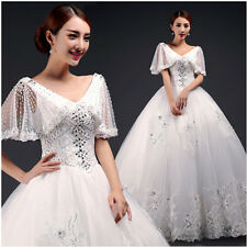2015Newest enchanting Lace Sexy V-neck bride Wedding Dress Gown butterfly sleeve