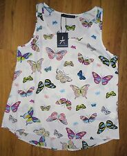 Primark Stunning BUTTERFLY FLOWER VEST BLOUSE Silky Feel top UK 6-20 NEW CREAM!