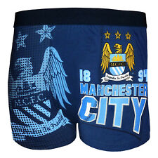 Manchester City Football Club Official Soccer Gift Mens Crest Boxer Shorts Navy