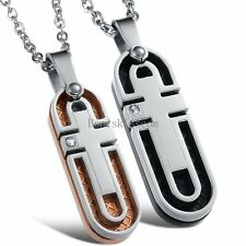 Matching Stainless Steel Couples Expandable Cross Pendant Necklace Valentines