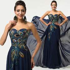 Peacock Vintage 50s formal evening gown Party long prom dresses bridesmaid dress