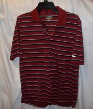MENS IZOD PERFORM GOLF SHIRT MAROON WITH BLACK / WHITE STRIPS SIZE SM NEW WT