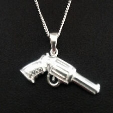 925 Sterling Silver GUN Pendant with necklace Chain uk 2.1gm cowboy