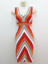 Calvin Klein Orange Multicolor Stretch Knit V-neck Versatile Cocktail Dress