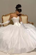 New White/ivory Organza Wedding Dresses Bridal Gown Stock Size 6-8-10-12-14-16