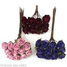 Parchment Roses Rose Flower Spray Bunch of 12 6cm Craft Cake Decorations