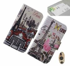 New Retro Bus Eiffel Tower PU Leather Full Cover Case Eiffel Tower For PhoneS