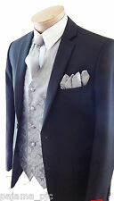New Men Silver Paisley Dress Vest Waistcoat & Neck tie And Hanky Set Prom Formal