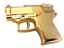 Rock Rebel Brand gold gun buckle with a snap on belt of your choice.
