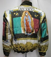 Bomber Jacket Guadalupe-Virgin Mary & Mexican Flag,Baroque style 100% Silk, New