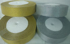 METALLIC RIBBON- 24mm.12MM..10MM...6MM..3M width.Gold & Silver, 25 Yards Each