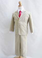 Boy khaki/taupe/white formal suit with fuchsia pink red purple coral long tie