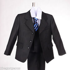 5 pcs Pinstripe Formal Suit Waistcoat Wedding Outfit Party Boy Size 1y-6y #025B