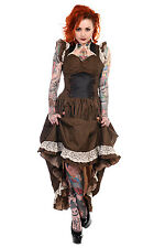 BANNED LONG BROWN BLACK STRIPED COPPER STEAMPUNK VTG LACE VICTORIAN CORSET DRESS