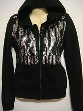 NWT VICTORIAS SECRET PINK PERFECT ZIP SEQUINS BLING FASHION SHOW HOODIE