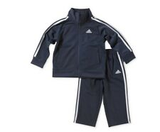 ADIDAS 2 PC SET OUTFIT TRICOT TRACKSUIT JACKET PANTS HOODED BOYS KIDS  NAVY