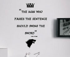 Game of Thrones Ned Stark Sword Winterfell Quote Wall Art Free Squeegee Decal
