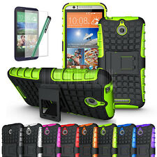 For HTC Desire 510 Armor Rugged Hybrid Shockproof Hard Stand Case Cover+Film