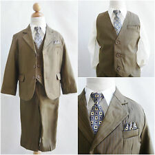 LTO Dark camel pinstripe/white shirt wedding party toddler youth boy formal suit