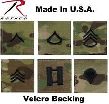 "Multicam Rank Hook & Loop 2"" x 2"" Military Rip-Stop Insignia Patch Made In USA"