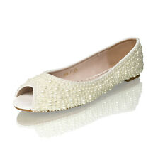 Marc Defang Ivory pearls Luxury Open toe Bridal wedding Ballet Flats
