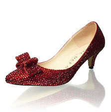 Marc Defang 2 inches Ruby Red Crystals Wizard of Oz Luxury kitten Heels