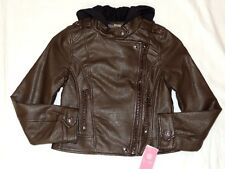 JESSICA SIMPSON Brown Faux Leather Hooded Bomber Coat Jacket S 7 8 L 10 12 NWT