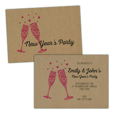 Personalised kraft New Years party invitations ORNATE CHAMPAGNE STARS PINK FREE