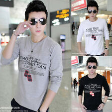 FREE P&P Men College Boys Slim Fit Long Sleeve Round Neck T-Shirts Casual Shirts