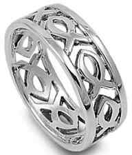 925 Sterling Silver Continuous Christian Ichthus Fish Symbol Band Ring Size 5-13